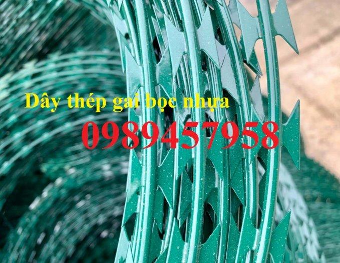 Đại lý bán dây thép gai hình dao, Chuyên dây kẽm gai bọc nhựa mầu xanh bùng nhùng8
