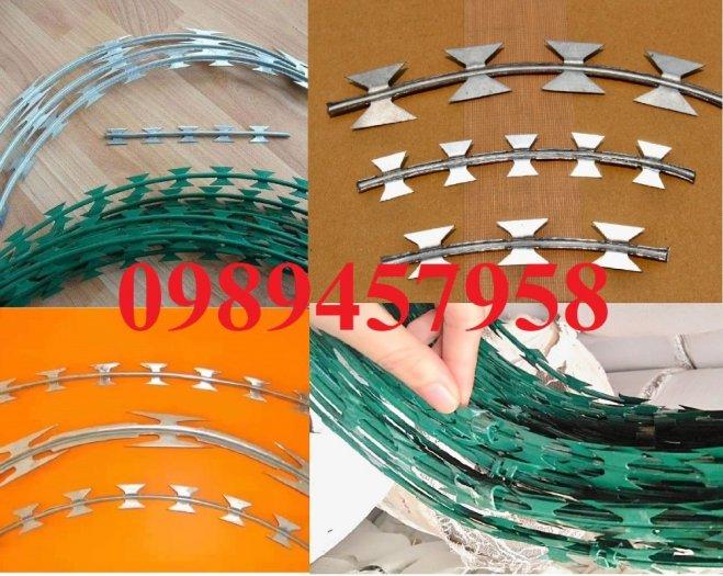 Đại lý bán dây thép gai hình dao, Chuyên dây kẽm gai bọc nhựa mầu xanh bùng nhùng3