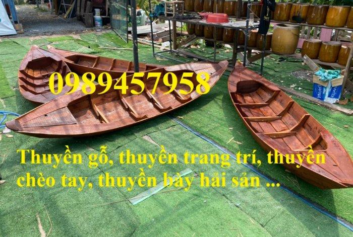 Thuyền trang trí hoa tết 2m, 3m, 4m, mua Xuồng gỗ trang trí 3m1
