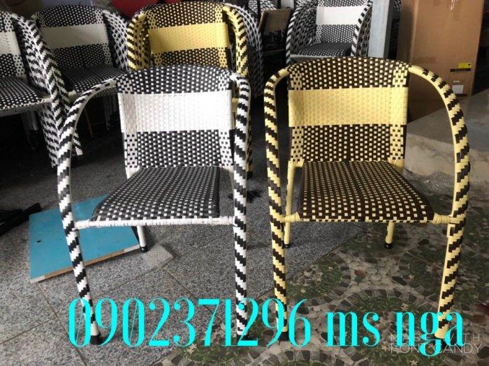 Bộ bàn ghế mây khung sắt cafe1