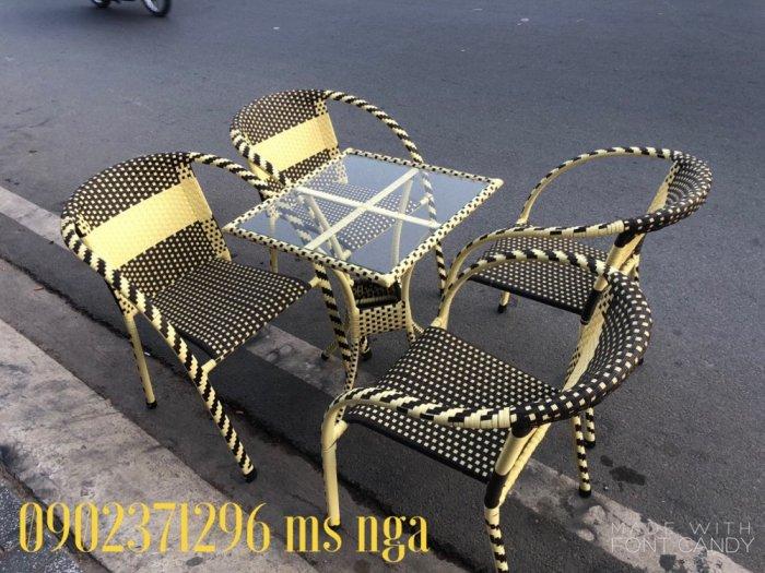 Bộ bàn ghế mây khung sắt cafe2