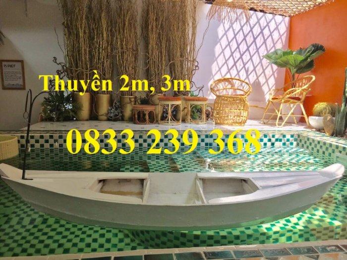 Thuyền gỗ 3m trang trí, Thuyền bày hải sản, Thuyền chụp ảnh1