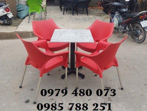 Bàn ghế nhựa chân inox 3043
