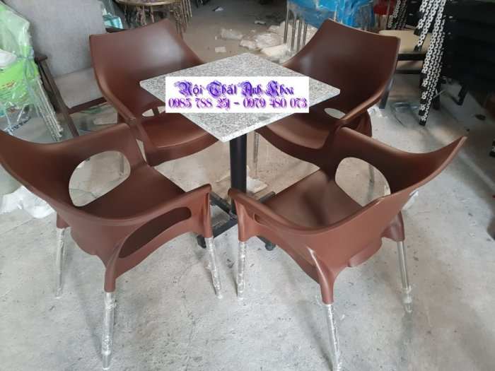 Bàn ghế nhựa chân inox 3042