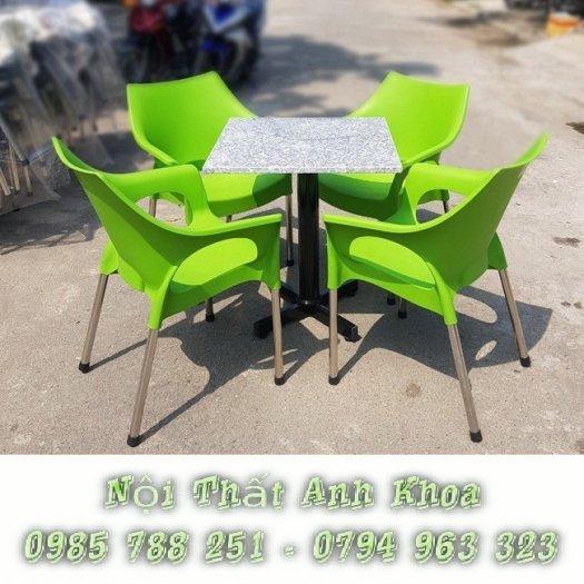 Bàn ghế nhựa chân inox 3041
