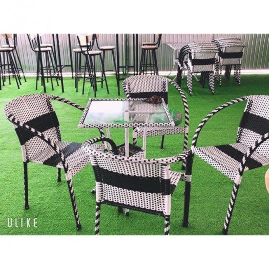 Bộ bàn ghế cafe sân vườn nhựa giả mây1