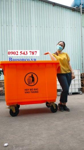 Xe đảy rác công cộng 660 lít nhựa HDPE2
