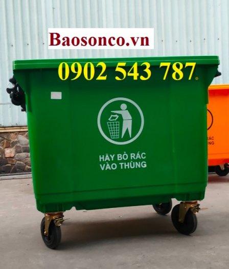 Xe đảy rác công cộng 660 lít nhựa HDPE1
