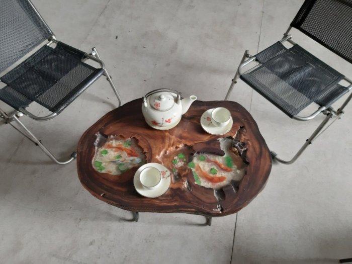 Bàn cafe nghệ thuật epoxy vẽ cá ( 40-55cm)5