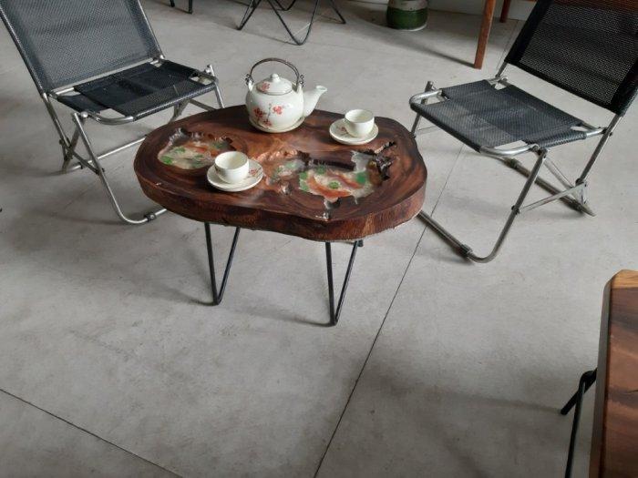Bàn cafe nghệ thuật epoxy vẽ cá ( 40-55cm)1