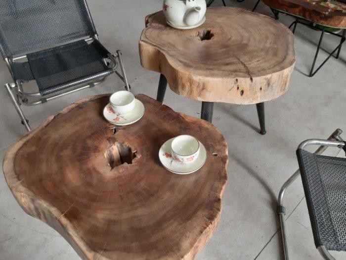 Bàn cafe gỗ tràm kích thước 45-55cm dày 8cm11