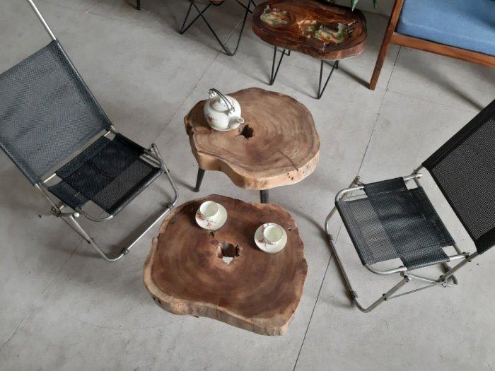 Bàn cafe gỗ tràm kích thước 45-55cm dày 8cm10