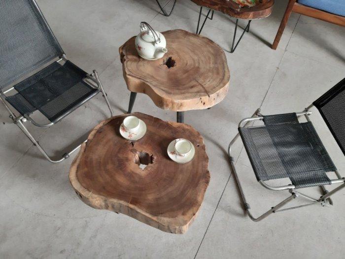 Bàn cafe gỗ tràm kích thước 45-55cm dày 8cm8