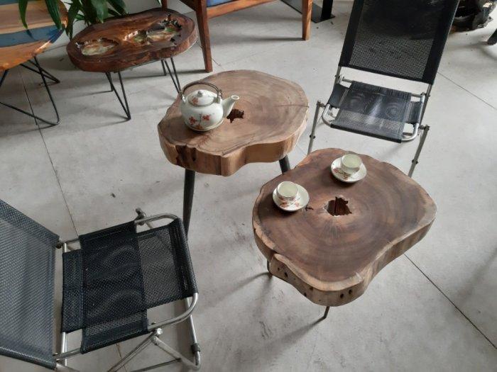 Bàn cafe gỗ tràm kích thước 45-55cm dày 8cm7