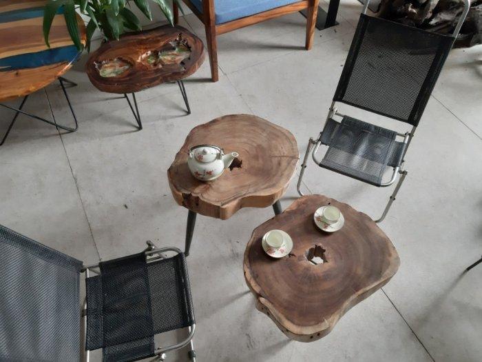Bàn cafe gỗ tràm kích thước 45-55cm dày 8cm6