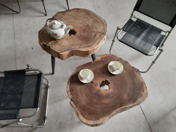 Bàn cafe gỗ tràm kích thước 45-55cm dày 8cm5