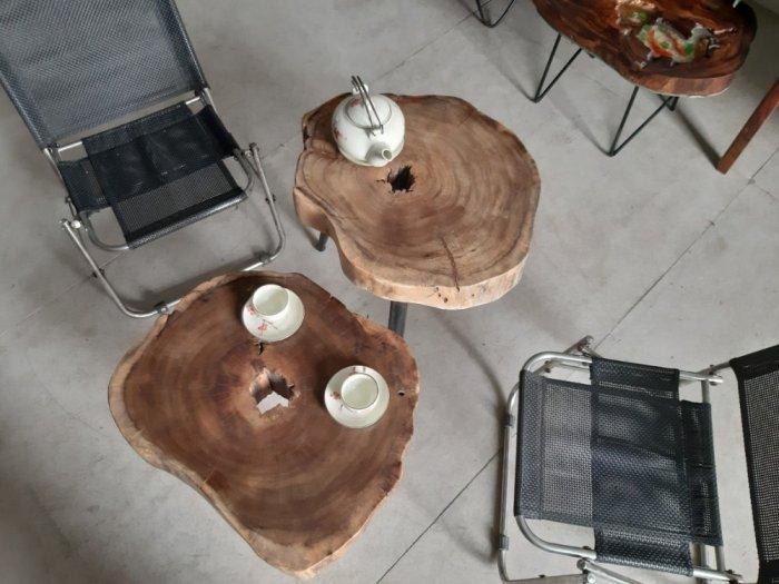 Bàn cafe gỗ tràm kích thước 45-55cm dày 8cm4