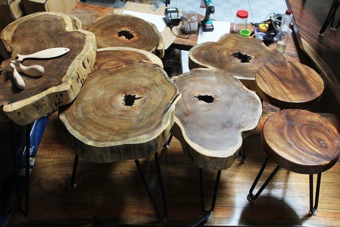 Bàn cafe gỗ tràm kích thước 45-55cm dày 8cm0