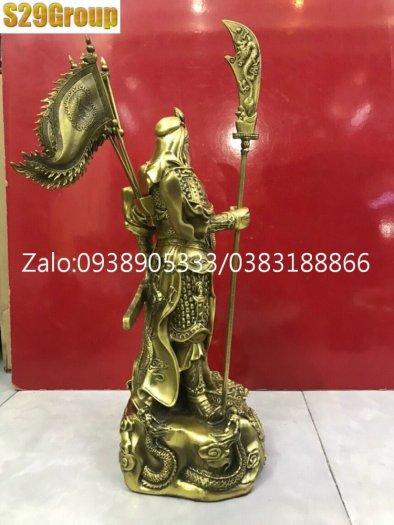 Tượng Quan Công đứng bệ rồng 5 lá cờ cao 45cm2