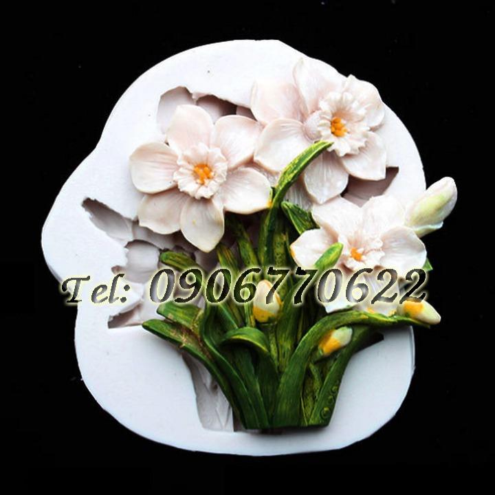 Khuôn silicon làm rau câu cành hoa thủy tiên - Mã số 4440
