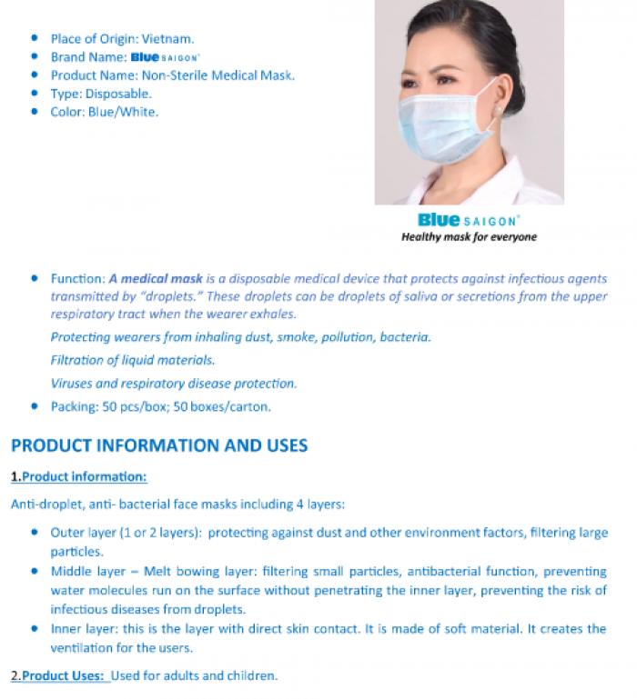 Khẩu trang Blue Saigon Face Mask  - combo 5 hộp 199k0