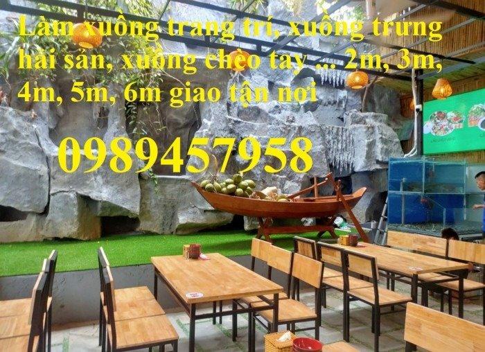 Thuyền trang trí nhà hàng, thuyền bày hải sản, Thuyền gỗ 2m, 3m1