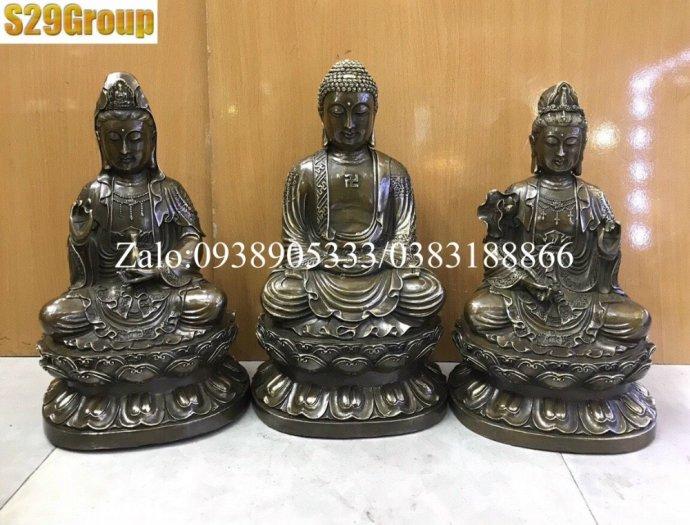 Bộ Tam Thế Phật bằng đồng đen cao 38cm6