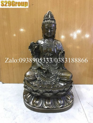 Bộ Tam Thế Phật bằng đồng đen cao 38cm5