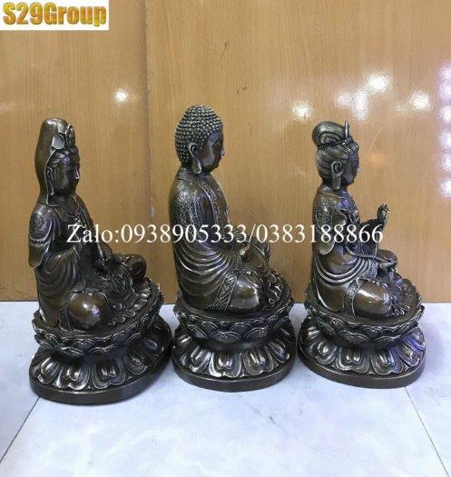 Bộ Tam Thế Phật bằng đồng đen cao 38cm2