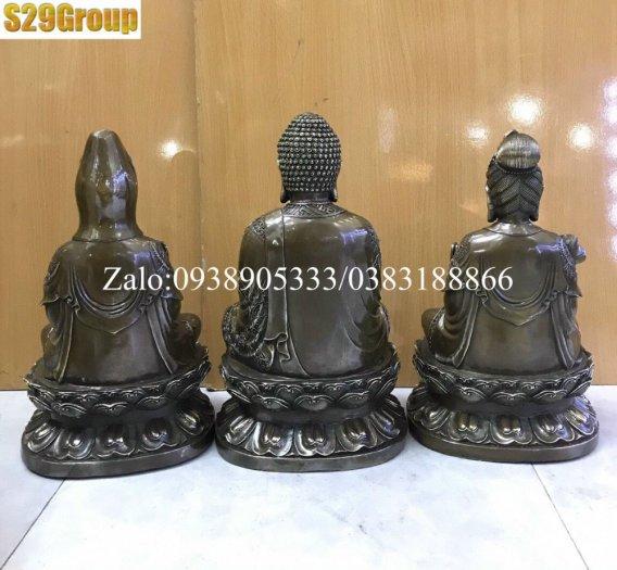Bộ Tam Thế Phật bằng đồng đen cao 38cm1