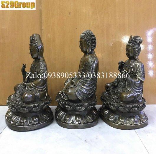 Bộ Tam Thế Phật bằng đồng đen cao 38cm0