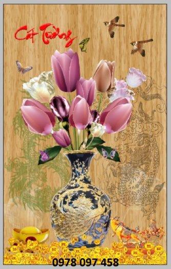 Tranh bình hoa sắc màu - tranh gạch1