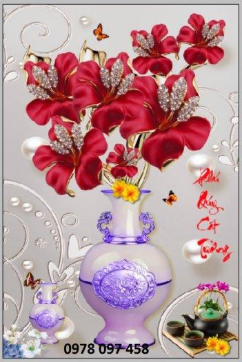 Tranh bình hoa sắc màu - tranh gạch0