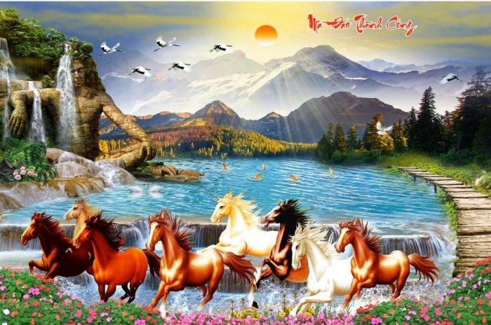 Tranh ngựa, gach tranh bát mã HP82324