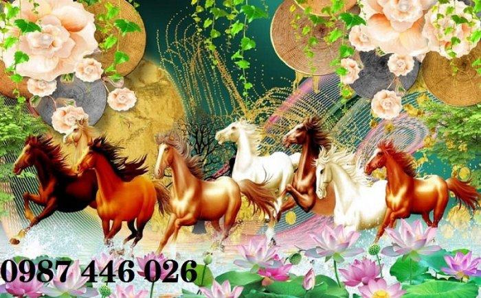 Tranh ngựa, gach tranh bát mã HP82322