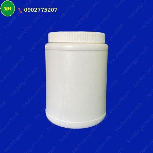 Hình hộp nắp vặn đựng bột, hủ nhựa hdpe 500gr - hủ nhựa 1kg đựng tinh bột nghệ, bột gạo, hủ nhựa đựng dung môi.12