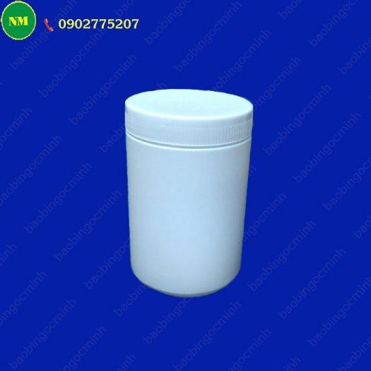 Hình hộp nắp vặn đựng bột, hủ nhựa hdpe 500gr - hủ nhựa 1kg đựng tinh bột nghệ, bột gạo, hủ nhựa đựng dung môi.7