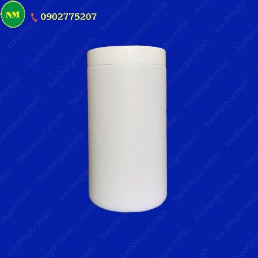 Hình hộp nắp vặn đựng bột, hủ nhựa hdpe 500gr - hủ nhựa 1kg đựng tinh bột nghệ, bột gạo, hủ nhựa đựng dung môi.6
