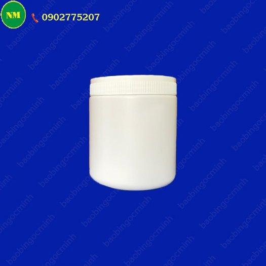 Hình hộp nắp vặn đựng bột, hủ nhựa hdpe 500gr - hủ nhựa 1kg đựng tinh bột nghệ, bột gạo, hủ nhựa đựng dung môi.5