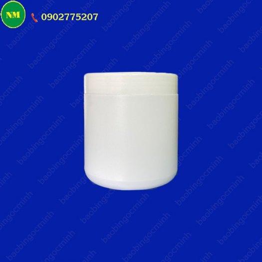 Hình hộp nắp vặn đựng bột, hủ nhựa hdpe 500gr - hủ nhựa 1kg đựng tinh bột nghệ, bột gạo, hủ nhựa đựng dung môi.1