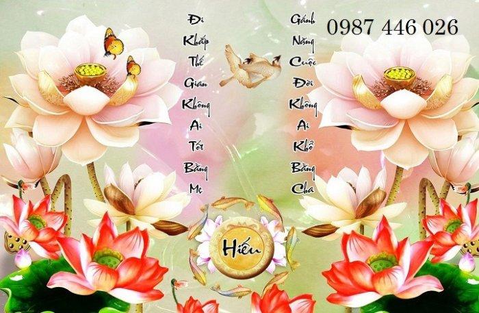 Tranh hoa sen, gạch ốp tường, tranh trang trí Hp602020