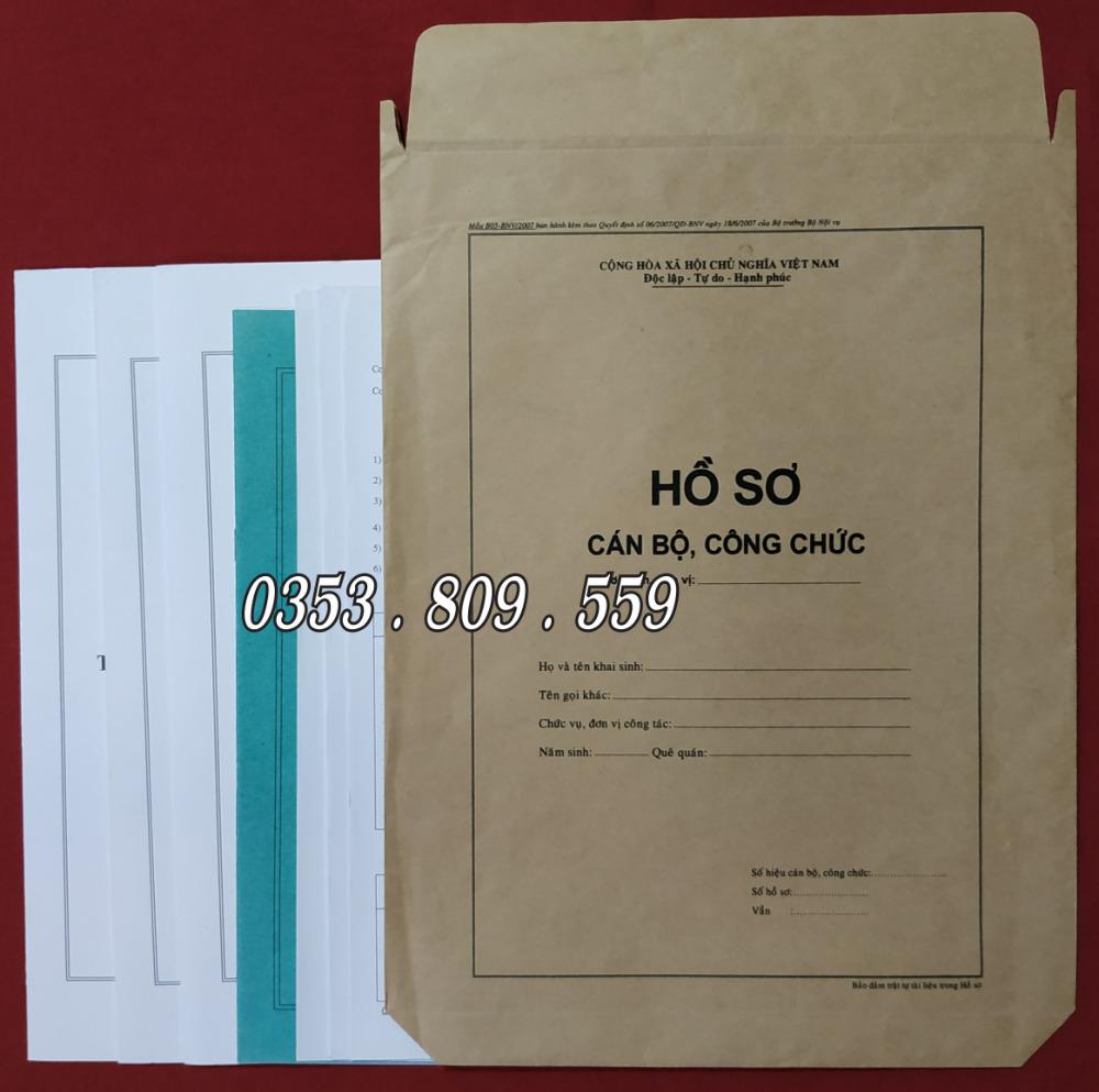Nơi bán hồ sơ công chức mẫu B01, B057