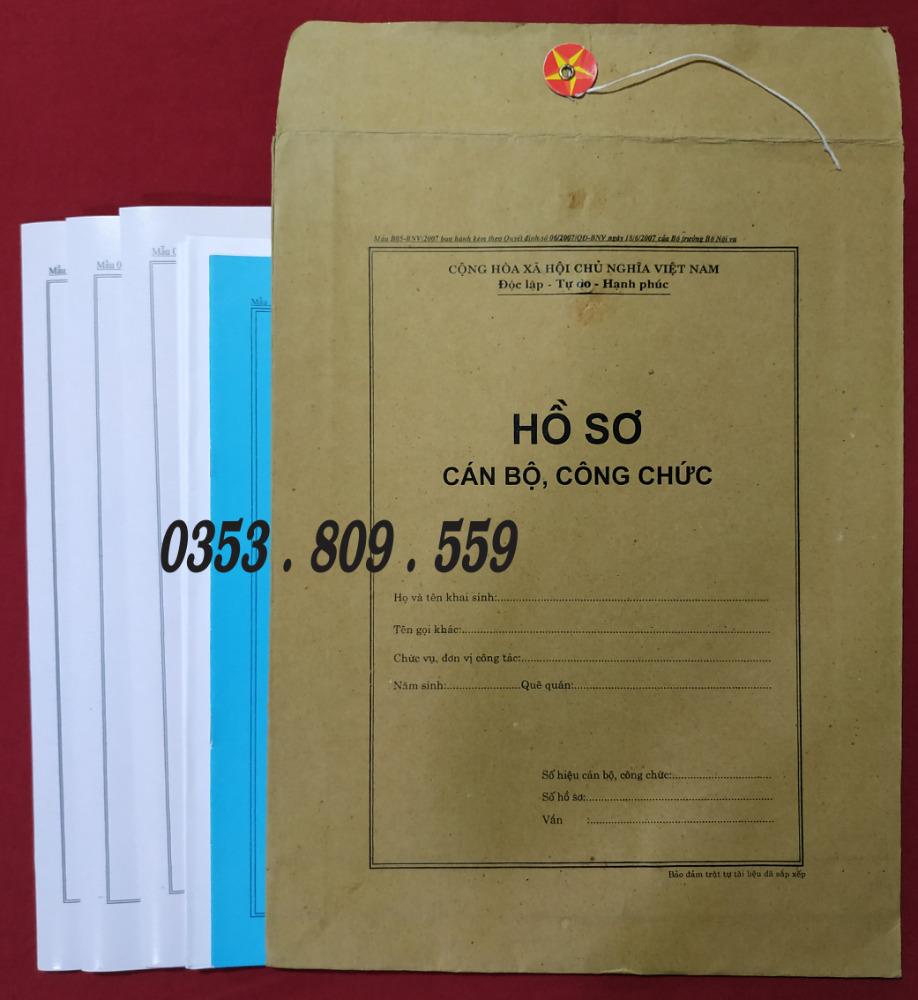 Nơi bán hồ sơ công chức mẫu B01, B055