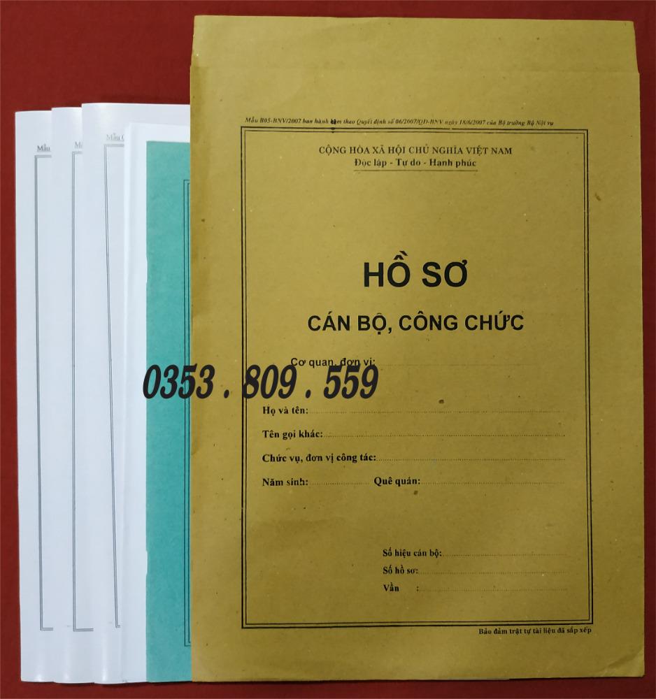 Nơi bán hồ sơ công chức mẫu B01, B054