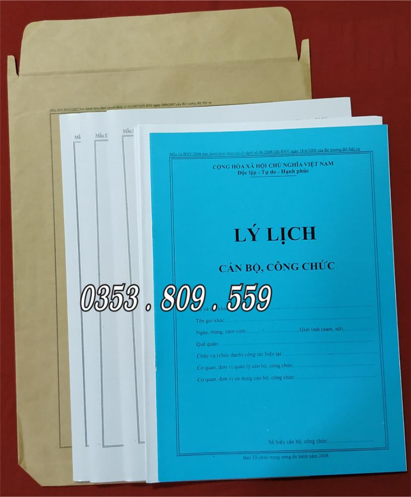 Nơi bán hồ sơ công chức mẫu B01, B053