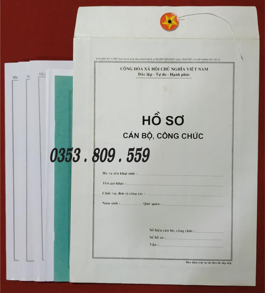 Nơi bán hồ sơ công chức mẫu B01, B052
