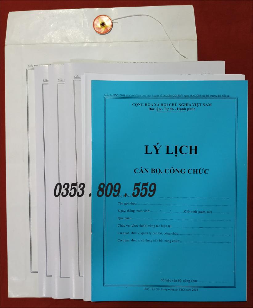 Nơi bán hồ sơ công chức mẫu B01, B051