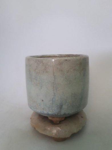 Bát nhang bạch định gốm Lái Thiêu xưa trọn bộ cao 13cm, đk 10.5cm3