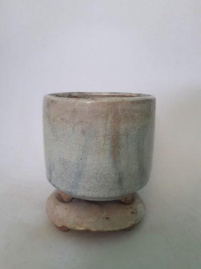 Bát nhang bạch định gốm Lái Thiêu xưa trọn bộ cao 13cm, đk 10.5cm2