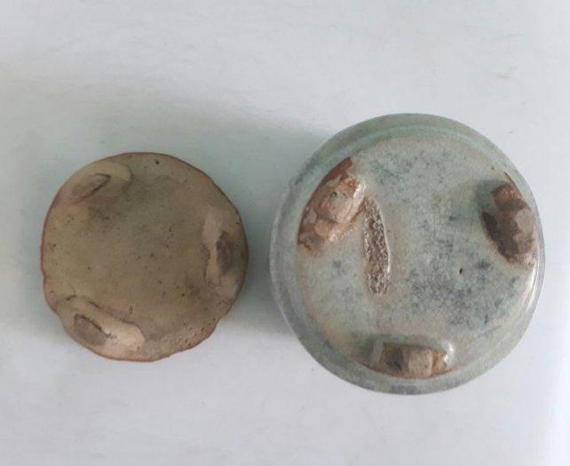 Bát nhang bạch định gốm Lái Thiêu xưa trọn bộ cao 13cm, đk 10.5cm1